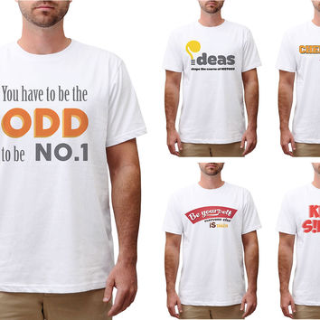 Retro Positive Quote Printed Cotton Short Sleeves Round Neck Men T-shirt MTS_00