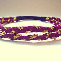 Burgundy Maroon and Gold Hippie Headband Boho Hair Accessories Braided Indie Headband