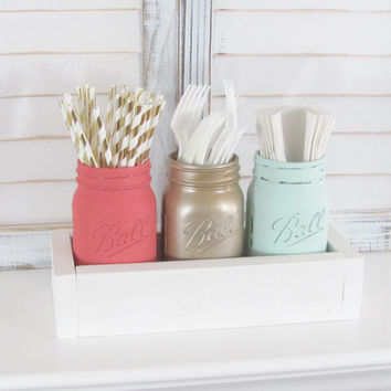 Wedding Decor, Mason Jars, Rustic Decor, Shabby Chic, Distressed, Party Decor, Set of 3 Jars, Party Centerpiece, Country Decor, Baby Shower