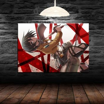 Cool Attack on Titan Modern Wall Art Canvas Print Animation Painting 1 Panel Anime  Mikasa Ackerman Poster Home Decor Artwork Picture AT_90_11