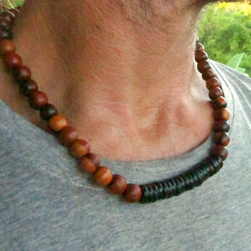 Wood & Coconut Beaded Men's Necklace / Hippie Boho Surfer Hipster Alternative Ethnic Choker Style Necklace / Men's Jewelry