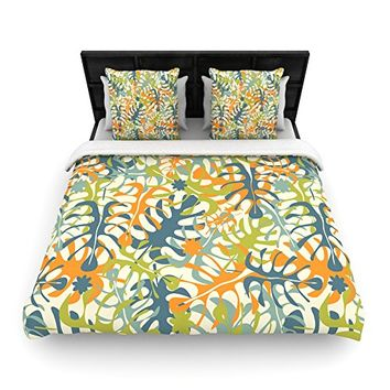 "Kess InHouse Julia Grifol ""Summer Tropical Leaves"" Green Orange 68 by 88"" Woven Duvet Cover, Twin"