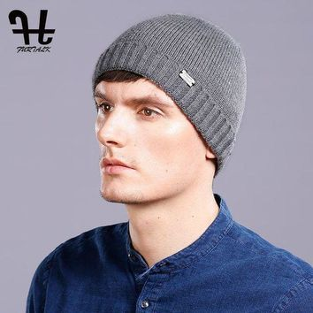 CREYONV FURTALK 100% Wool Knitted Cashmere Men Winter Hat Knit Skullies Beanies Hats Male HTWL093