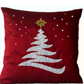 """Navy Blue Burlap pillow cover with white sequins/beads Christmas tree and No Star - 16""""x 16"""""""