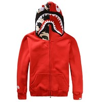 Bape Aape Shark Hoodies Men's plus velvet sweater Men's and women's lovers hooded jacket Red