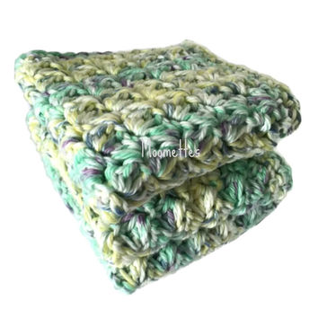 Handmade Dish Cloths Set of 3 Pastel Yellow Green Purple Cotton Wash Cloths Crochet Kitchen Dishcloths