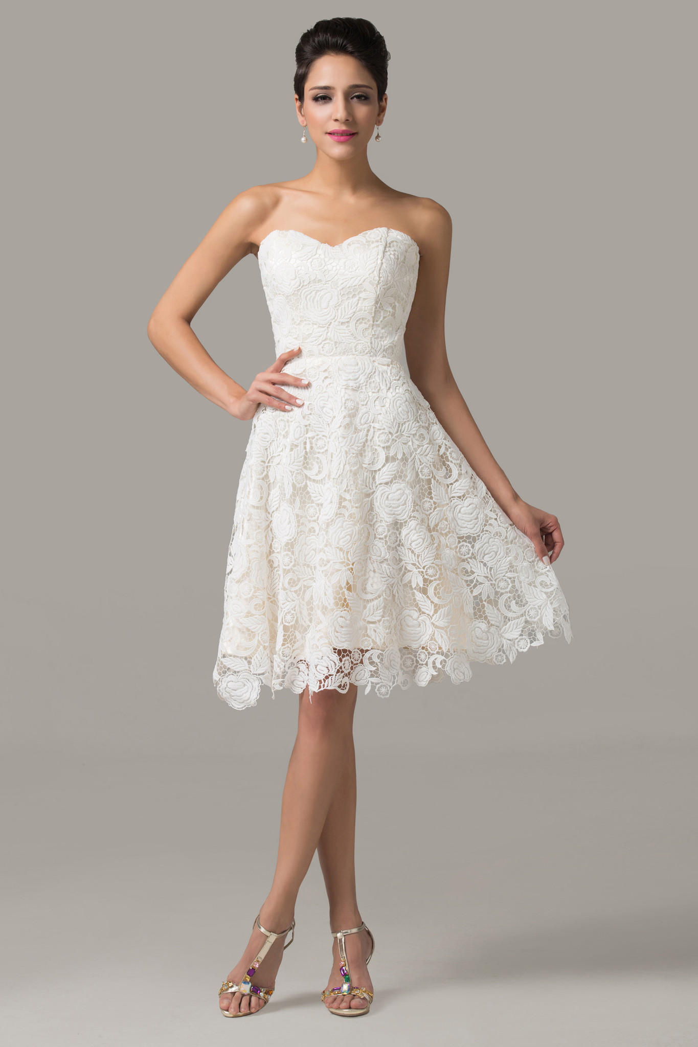 Ivory Lace Strapless Dress