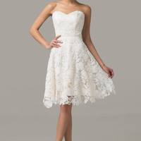 Ivory Strapless Lace Homecoming Dress