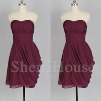 Ruffled Sweetheart Strapless A-Line Short Bridesmaid Celebrity dress ,Simple Chiffon Evening Party Prom Dress Homecoming Dress