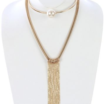 Jafara Double Layer Long Metal Fringe Necklace