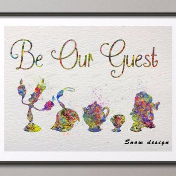 Original watercolor Be My Guest Beauty and Beast poster print pictures canvas painting Abstract wall art home Decoration gifts