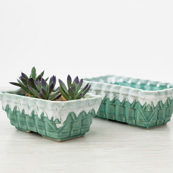 Vintage Sea Green UPCO Planters, UPCO Plant Dish, Blue Green Pottery Succulent Dish, Garden Dish, Ungemach Pottery, Mid-Century Pottery