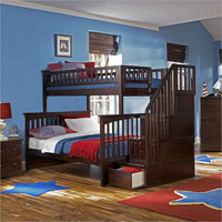 Staircase Bunk Beds  Twin Over Full by BoardsofBeauty on Etsy