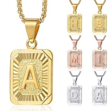 Unisex Gold Filled Initial Letter Pendant Necklace