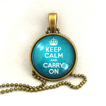 10% SALE Necklace, Keep Calm And Carry On, Quote, Blue, Gift