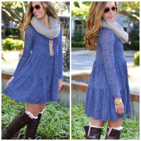 SZ LARGE Blue My Mind Navy Knit Dress