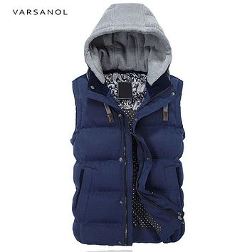Men Vest Jacket Hoodies Winter Clothes Vests For Men Cotton Outwear Hooded Sleeveless Turn-down Collar Casual