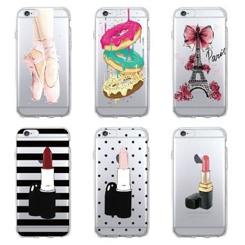 TOMOCOMO Fashion Girl Macaron Eiffel Lipstick Ballet Phone Case Fundas Coque Cover For iPhone 5 7 7Plus 6 6S 8 8PLUS X SAMSUNG