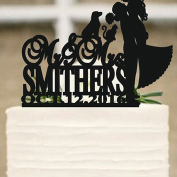 Wedding Cake Topper Silhouette Couple, Dog and cat Cake Topper, Bride and Groom Cake Topper - cake decor - wedding decoration -Rustic topper