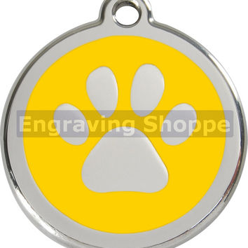 Yellow Paw Print Enamel and Stainless Steel Personalized Custom Pet Tag with LIFETIME GUARANTEE ID Tag Dog Tags and Cat Tags Free Engraving