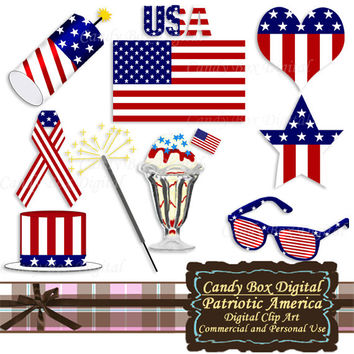 Patriotic Clip Art, American clip art, patriotic clipart, American clipart, flag clip art, flag clipart, 4th of July  - Commercial OK