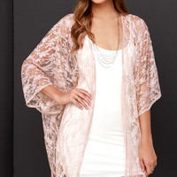Primp and Proper Blush Lace Kimono Top