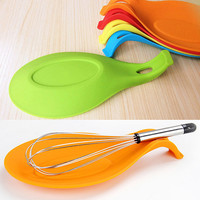 Silicone Heat Resistant Spoon Fork Mat Rest Utensil Spatula Holder Kitchen Tool  6NH8