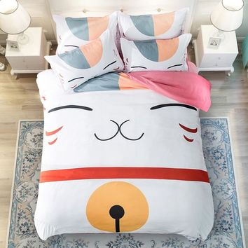 Anime Natsume Yuujinchou Bedding Set For Boys Girls/Kids Duvet Cover Set/Children Cartoon Cat Twin Queen King Size Beddings