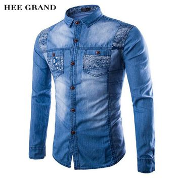 HEE GRAND Shirts Men 2017 Autumn Winter Long Sleeve Denim Shirts Printing Slim Asian Size Tops MCL1681