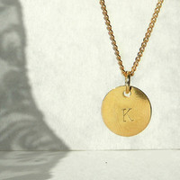Delicate Necklace, Hand Stamped Gold Plated Pendant, Tiny Charm Gold Plated Letter Charm, Personalized Jewelry, Shipping from Europe