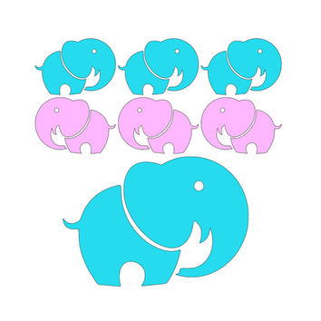 Elephants For Babies Room Set of 6 Vinyl Wall Decals - Easier Than Paint or Stencils - Select Color