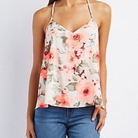 FLORAL STRAPPY V-NECK TOP