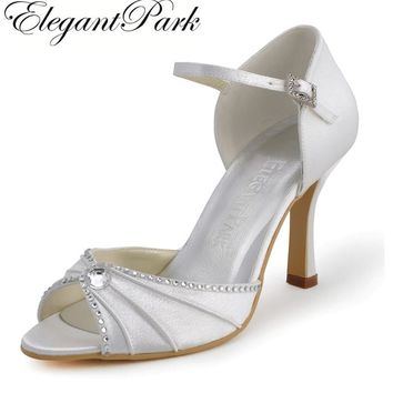 "Woman Shoes EL-033 White Ivory Peep Toe Rhinestone 3.5"" High Heel Ankle Strap Satin Wedding Bridal Shoes Evening Party Pumps"