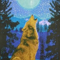 Sunshine Joy 3D Glow in the Dark Full Moon Wolf Tapestry Wall Art Amazing 3-D Effects - Huge 60x90 Inches