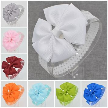 ICIKL3Z 21 color  Baby hair bows Handmade flower lace Headband floral  newborn toddler ribbon Hair Bands DIY hair accessories children