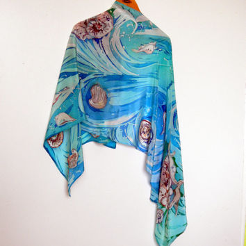 "batik silk  scarf crepe de Chine women s scarf long scarf Ocean breeze summer scarf hand painted 63,69 ""by 21,26"" ready  to ship"