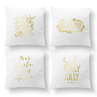 SET of 4 Pillows, Here Comes Santa, Holly Jolly, Decorative Pillow, Christmas Pillow, Throw Pillow, Gold Pillow, Cushion Cover, Xmas Pillow