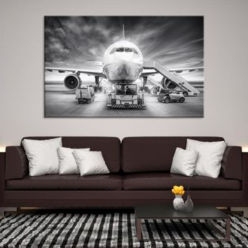 93896 - Front View of Aircraft Getting Prepared for Take Off, Extra Large Wall Art, Large Canvas Print, Black and White Airplane Front Look, High Resolution Canvas, Office Decor
