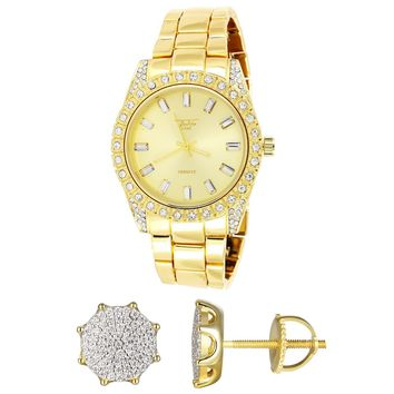 Men's Gold Finish Presidential Watch Round Silver Earrings Combo Set