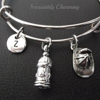 Firefighters Inspired bracelet, Stainless Steel Expandable Bangle, monogram personalized item No.228