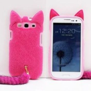 3D Cute Fluffy Tail Cat TPU Case Cover Skin for Samsung Galaxy S3 i9300 Rose