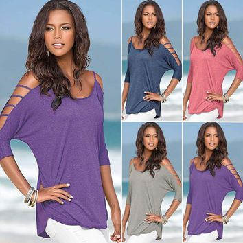 Women Summer Cut Out Cold Shoulder Tee Shirt Loose Casual Blouse Top