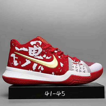 NIKE Kyrie 3 Samurai Christmas Fashion Trending Leisure Running Sports Shoes Red G-DXTY-XZ
