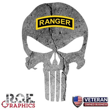 Punisher Skull Window Decal Vinyl Graphic US Army Ranger Tab veteran Army Logo