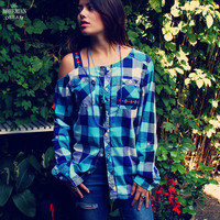 Bohemian Top Off One Shoulder Plaid Blue Blouse Shirt Floral Trim Boho Hippie Upcycled Women's Clothing Recycled Clothing Eco Friendly OOAK