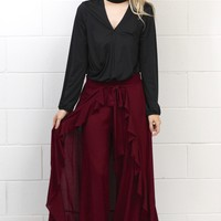 Runway Caped Maxi Wide Leg Pants {Burgundy}