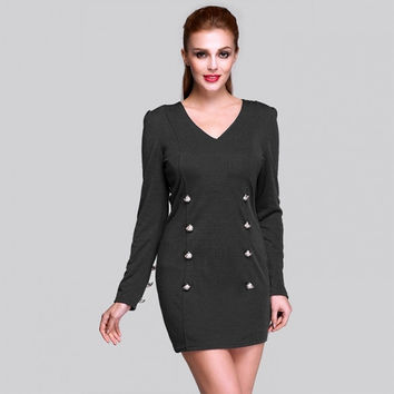 New Stylish Women's Fashion Casual Party V-Neck Long Sleeve Double Breasted Mini Dress