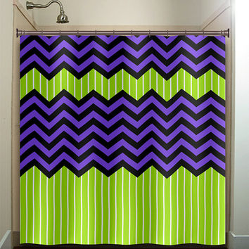 lime green stripe purple zig zag chevron shower curtain bathroom decor fabric kids bath white black custom duvet cover rug mat window