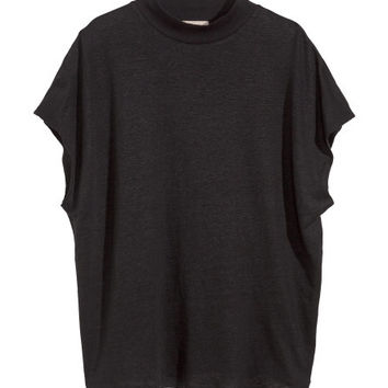 Linen Top with Collar - from H&M