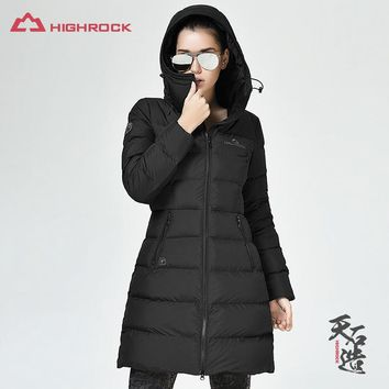 HIGHROCK 700FP 90% Goose Down Jackets Women Hooded Long Coats Outdoor Sports